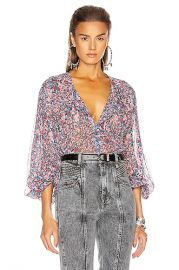 Isabel Marant Orionea Blouse in Blue   FWRD at Forward