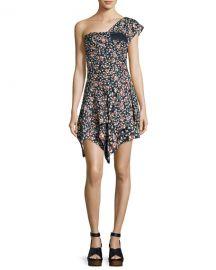 Isabel Marant Ricco One-Shoulder Silk Dress  Black at Neiman Marcus