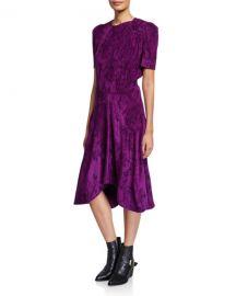 Isabel Marant Ulia Corduroy Twisted-Shoulder Dress at Neiman Marcus
