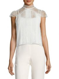 Isadora Lace Embroidered Pintuck Top by Alice   Olivia at Gilt at Gilt