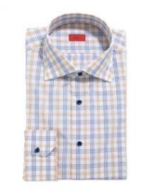 Isaia Woven Large Check Dress Shirt YellowBlue at Neiman Marcus