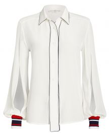 Isako Silk Button Front Blouse at Intermix
