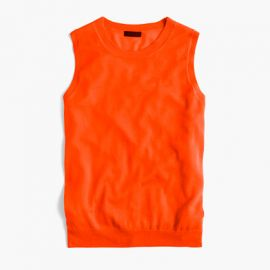 Italian Featherweight Cashmere Shell in Neon Persimmon at J. Crew