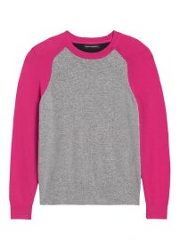Italian Merino-Blend Raglan Sweater in Heather Grey / Hot Pink / Navy at Banana Republic