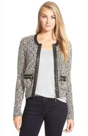Ivanka Trump Faux Leather Trim Marled Sweater Jacket at Nordstrom