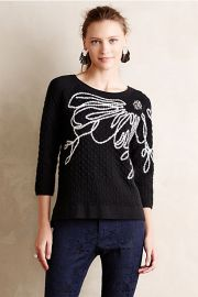 Ivory Bloom Pullover at Anthropologie