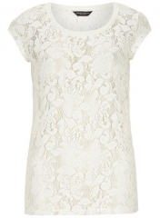 Ivory Lace Tee at Dorothy Perkins