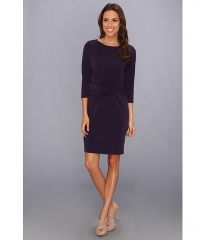 Ivy andamp Blu Maggy Boutique Elbow Sleeve Ruched Side Sheath Dress Deep Plum at 6pm