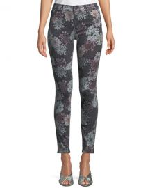 J Brand 620 Floral-Print Mid-Rise Super Skinny Jeans at Neiman Marcus