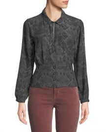 J Brand Lindsey Snake-Print Silk Long-Sleeve Top at Neiman Marcus