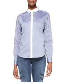 J Brand Ready to Wear Piper Contrast-Trim Cotton Blouse at Neiman Marcus