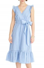 J Crew All Over Eyelet Wrap Midi Dress  Regular  amp  Petite    Nordstrom at Nordstrom