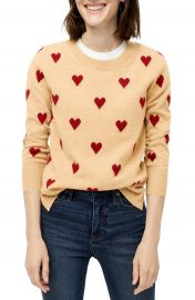 J Crew Crewneck Intarsia Heart Everyday Cashmere Sweater  Regular  amp  Plus Size    Nordstrom at Nordstrom