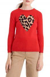 J Crew Leopard Heart Everyday Cashmere Sweater  Regular  amp  Plus Size    Nordstrom at Nordstrom