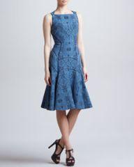 J Mendel Full Skirted Leafy Jacquard Dress Blue Dusk at Neiman Marcus