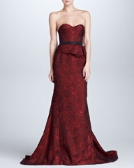J Mendel Organza Jacquard Bustier Gown Scarlet at Neiman Marcus