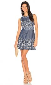 J O A  Embroidered Fit And Flare Dress in Navy Multi from Revolve com at Revolve