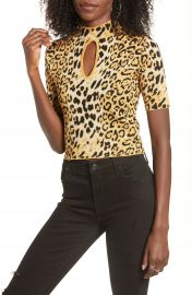 J O A  Leopard Print Keyhole Detail Fitted Sweater   Nordstrom at Nordstrom