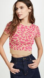 J O A  Leopard Short Sleeve Sweater at Shopbop