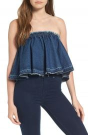 J O A  Ruffle Strapless Denim Top at Nordstrom