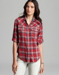 JACHS Girlfriend Shirt - Bea Light Flannel Plaid Button Down at Bloomingdales