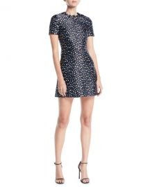 JASON WU SHORT-SLEEVE MINI FLORAL-PRINT SATIN A-LINE MINI DRESS at Bergdorf Goodman