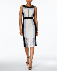 JAX Colorblocked Lace Sheath Dress at Macys