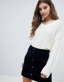 JDY boucle texture v neck sweater   ASOS at Asos