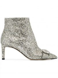 JIMMY CHOO SILVER HANOVER 65 GLITTER BOOTS - METALLIC at Farfetch