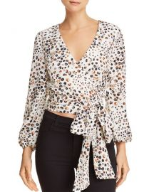 JOA Cropped Leopard-Print Wrap Top at Bloomingdales
