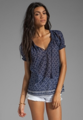 JOIE Masha Scarf Print Top in Blue Violet - Joie at Revolve