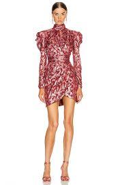 JONATHAN SIMKHAI Metallic Mockneck Wrap Dress in Sienna Combo   FWRD at Forward
