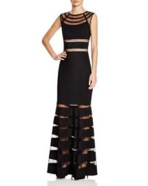 JS Collections Beaded Mesh Panel Gown at Bloomingdales