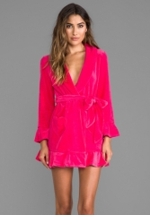 JUICY COUTURE Velour Robe in Hot Cyclamen at Revolve