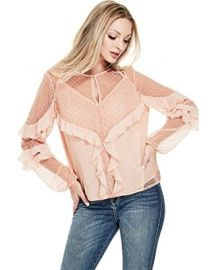 JUNIPER RUFFLE LACE TOP at Guess