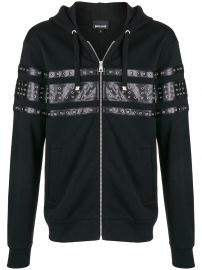 JUST CAVALLI EYELET PANELLED ZIPPED HOODIE - BLACK at Farfetch