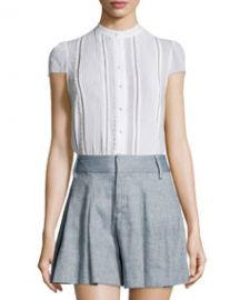 Jaclyn Cap-Sleeve Pintucked Blouse  White at Neiman Marcus