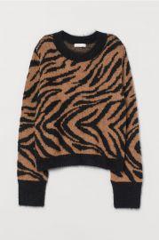 Jacquard Knit Sweater in Light brown/zebra print at H&M