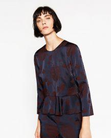 Jacquard Peplum Top at Zara