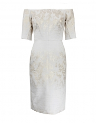 Jacquard dress in white by J Mendel at Marissa Collections
