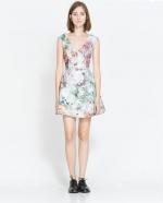 Jacquard dress with cutout back at Zara