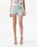 Jacquard pattern shorts at Zara