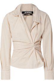 Jacquemus - La Chemise Belem ruched cotton and linen-blend shirt at Net A Porter