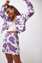 Jaded London Lilac Cow Print Denim Jacket at Topshop