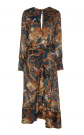 Jaguar Print Georgette Midi Dress by Johanna Ortiz at Moda Operandi