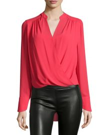 Jaklyn Drape-Front Blouse  Red at Neiman Marcus