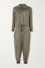 James Perse - Mixed Media slub cotton-blend twill jumpsuit at Net A Porter