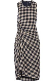 James Perse - Ruched checked wool and linen-blend dress at Net A Porter