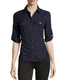 James Perse Cotton Contrast-Panel Shirt at Last Call
