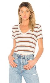 James Perse V Neck Seamed Tee in Cartridge Stripe from Revolve com at Revolve
